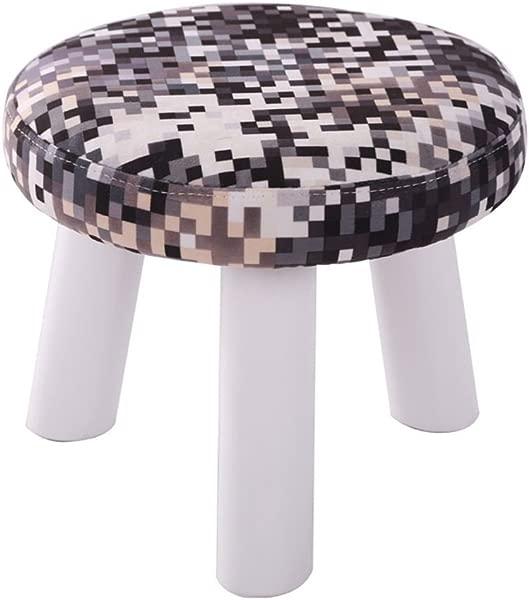 田园风格实木鞋凳 3 腿圆形软垫脚凳沙发矮凳脚凳黑色 28x 25厘米