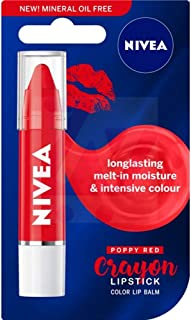 Nivea Poppy red Crayon Long Lasting Moisture Lip Balm with Natural Oils 3g