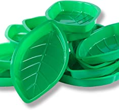Palm Leaf Hawaii Style Food Reusable Snack Tray, Cookies, Chips, Candy Dip for Jungle Island Themed Party Decorations Platter (12 Pack, 11.75