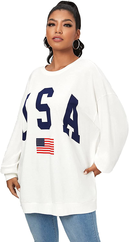WDIRARA Women's Letter Flag Print Round Neck Long Sleeve Sweatshirt Casual Top