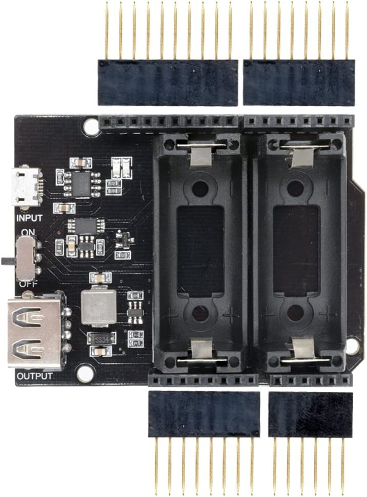 diymore Micro USB R3 5V/GND Power Supply with 16340 Lithium Battery Holder Shield Board Power Bank Module for Arduino Without Battery
