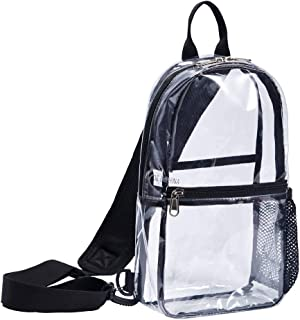 Clear Backpack Stadium Approved Sling - Bag Pvc Vinyl Transparent Shoulder Crossbody for Women & Men (Small)