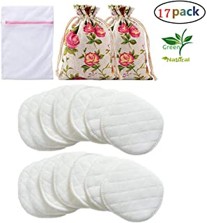 Organic Cotton Nursing Pad (14 pcs) Breast Breastfeeding Pads Reusable Milk Pads White - Leak Proof Soft Breathable with 2 Rose Drawstring Bag and 1 Laundry Bag