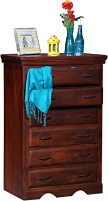 Balaji Wooden Mango Wood Chest of Drawer Storage Cabinet with 6 Drawer Furniture for Home Living Room Office (Honey Finish)