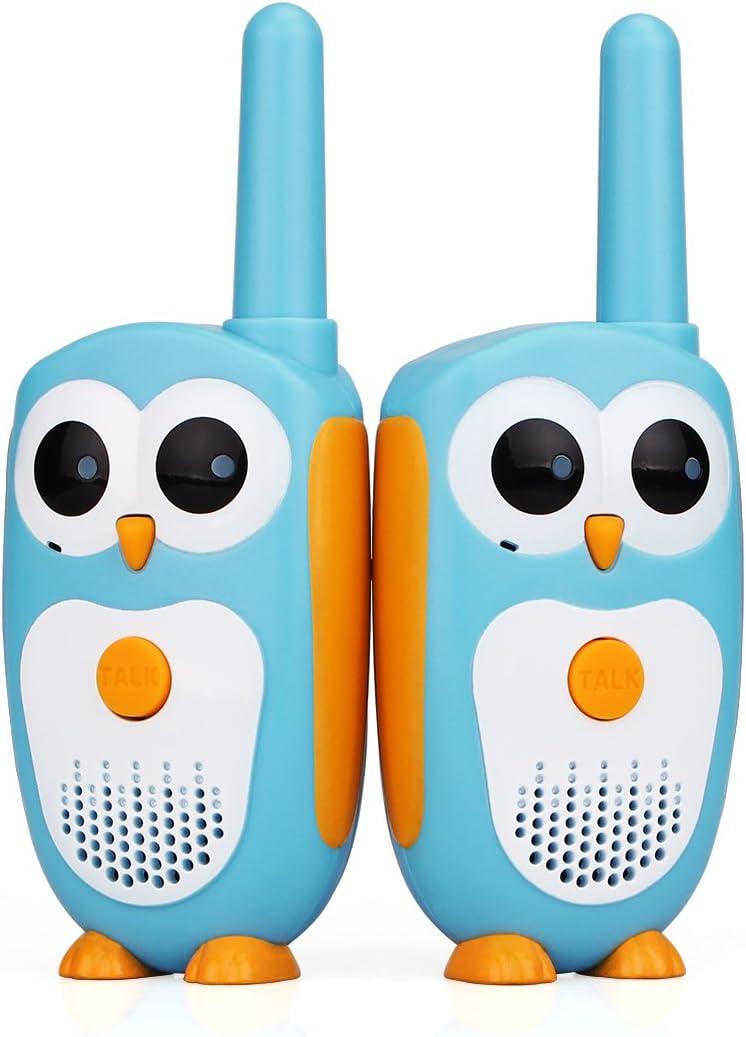 Retevis RT30 Walkie Talkies para Niños, Juguetes Pequeños Owl, Ojos LED, Niñas de 3 a 5 Años, Regalos Ideales para Juguetes, LCD Recargable Largo Alcance, Juego Familiar Cámping (Azul, 2 Pieza