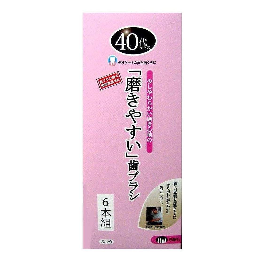 驚煙ぴったり歯ブラシ職人 Artooth ? 田辺重吉の磨きやすい 40代からの歯ブラシ 歯ぐきにやさしい 細めの毛 先細毛 日本製 6本セットLT-15-6