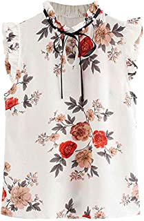 SADUORHAPPY Tops Vest Tank Chiffon T Shirt Floral Print Sleeveless Short T-Shirt (S, White)