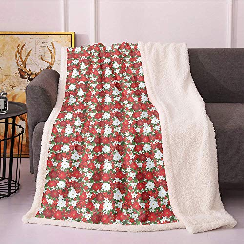 Christmas Fleece Blanket 40'X50',Poinsettia Flower Holly and Mistletoe in Natural Traditional Combination Flannel Bed Blankets,for Sofa Couch Bed Blanket(White Red Green)
