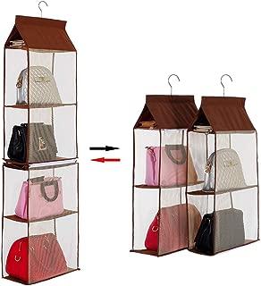 KEEPJOY Hanging Handbag Organizer, Purse Closet Organizer with 4 Large Heavy-Duty Mesh Shelves Handbag Storage, Detachable Design Closet Purse Storage (Brown)
