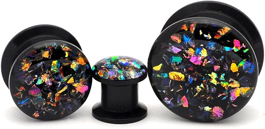 Mystic Metals Body Jewelry Black Acrylic Embedded Dichroic Glass Plugs - Sold as a Pair
