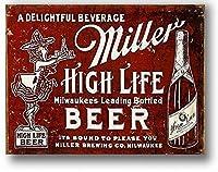 アメリカ雑貨 ミラービール HIGH LIFE BEER レトロ調 アメリカンブリキ看板 アメリカ ブリキ看板 サインボード ティンサイン メタルプレート おしゃれ カフェ バー 店舗 インテリア ポスター 看板
