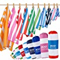BOGI 2 Pack Microfiber Beach Towel-(Size:L,XL)-Quick Dry Lightweight Ultra Absorbent Travel Towel -Perfect for Bath Beach Swimming Camping Gym Yoga- Pouch+Carabiner