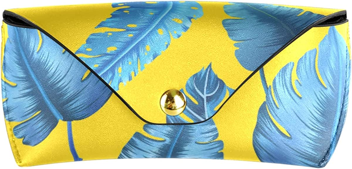 Banana Leaf Seamless Pattern PU Leather Sunglasses Case Eyeglasses Pouch Portable Goggles Bag Multiuse Storage