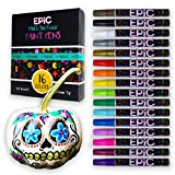 EPIC: Paint Pens - Set of 16 - Paint Pumpkins- Works on Rocks, Metal, Eggs, Glass, Ceramic, Porcelain, Wood, Fabric, Canvas - Medium tip - Permanent Oil Based - Water Resistant - Great for Adults & Kids