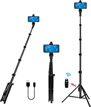 Selfie Stick Tripod 54 Inch Wireless Remote Portable Extendable Phone Camera Selfie Stick with Tripod Stand Rechargeable for iPhone 11 pro Max Xs Xr Plus 6 7 8/Samsung Galaxy/Xiaomi/Android Phones