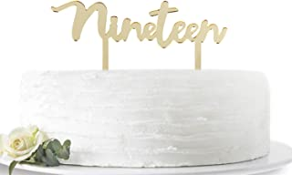 Mirror Gold Nineteen Cake Topper -Happy 19th Birthday or 19th Anniversary Cake Topper Acrylic Party Decoration Supplies