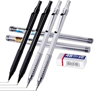 Mechanical Pencil 0.5, 0.7mm 2 Sizeswith Eraser and HB Lead Refills, 7Piece Kit Metal Automatic Pencils .Drawing, Sketching, (Sliver Black, 0.5 0.7)