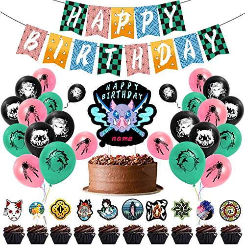 JUZIPI Demon Slayer Birthday Party Decorations Supply Accessories Bunting Banner Balloon Cute and Lovely Birthday Decorations Garland Set for Kids Children Boys and Girls
