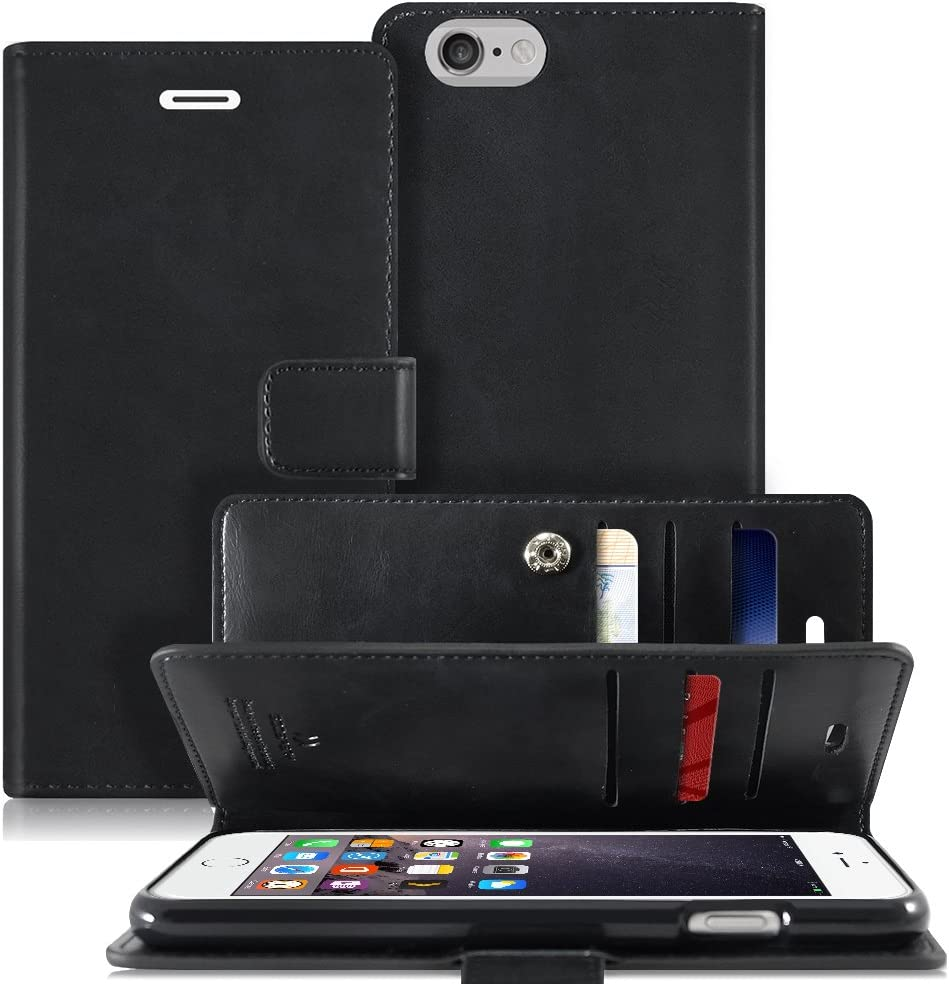 Goospery Mansoor Wallet for Apple iPhone 6S Plus Case (2015) iPhone 6 Plus Case (2014) Double Sided Card Holder Flip Cover (Black) IP6P-MAN-BLK