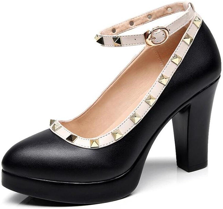 Frauen Schuhe Leder Blockabsatz Mary Jane Arbeitsbühne Rivet Knchelriemen Gericht Pumpe Gre 35 bis 42