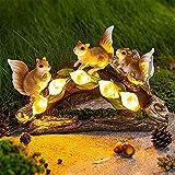 YWZBEC Adornos de Resina de jardín Solar al Aire Libre, Adorno de jardín, Escultura Decorativa de jardinería de Animales de Ardilla de simulación para Regalo de decoración de césped de jardín