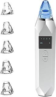 ANGGO 2020最新版 毛穴吸引器 毛穴クリーナー 美顔ライト 美顔器 ニキビ 吸引 黒ずみ イチゴ鼻 角栓 たるみ しわ フェイスケア 5種類の吸引ヘッド 5段階吸引力調整 USB充電式 日本語説明書付(B)