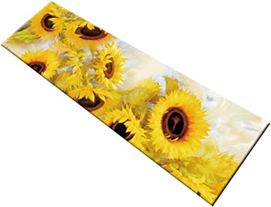 HVEST Sunflower Area Rugs Blooming Yellow Flowers Carpet Non-Slip Runner Area Rugs for Living Room Bedroom Kitchen Floor Mat,