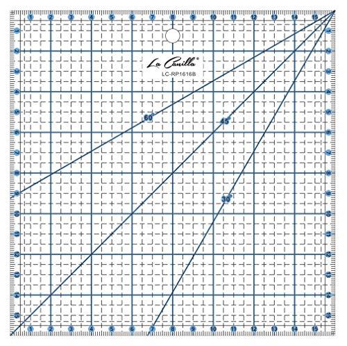 La Canilla  - Regla Cuadrada de Pachwork 16x16cm (Azul) de Acrílico para Costura, Manualidades, Quilting y Patronaje Antideslizante