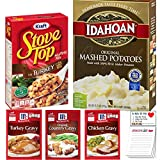 Instant Mashed Potatoes Stuffing and Gravy Variety Pack of 5 | Idahoan Mashed Potato | Sto...