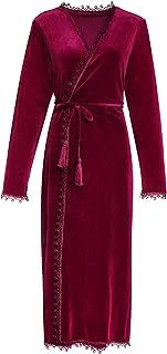 Women's Velvet Dressing Gown Winter Pajamas Warm Bathrobe Wrap Kimono Elegant Flannal Robe Sleepwear