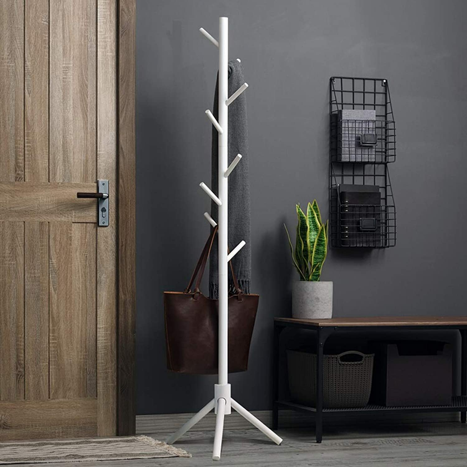 Y.H.Valuable Standing Coat Racks Coat Stand Clothes Rack Hat Coat Rack Floor Hanger Hall for Hanging All Kinds of Clothes, Coats, Jackets, Scarves, Hats (color   White)