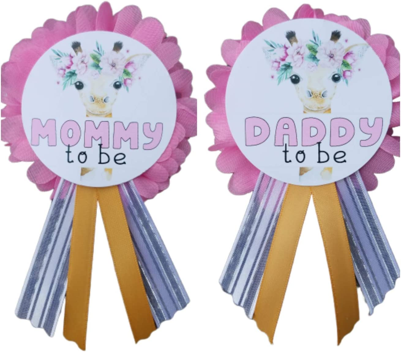 Mom and Daddy Baby Shower Party Pins Gender Reveal Mommy dad Badge Girl Supplies Decorations Kit Safari Theme Set Giraffe Woodland Keepsake
