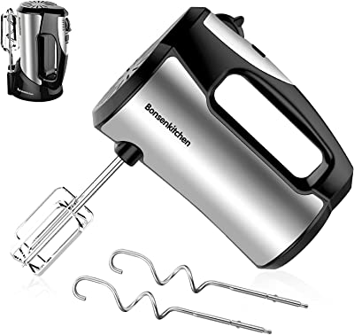 Hand Mixer Electric, 300W Power Lightweight Digital Kitchen Handheld Mixer with 5-Speed, Storage Base & 4 Stainless Steel Accessories for Whipping, Baking Cake, Egg Cream, Food Beater