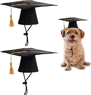 NEW EDO 2 Pieces Pet Black Grad Hat with Yellow Tassel Pet Costume Graduation Costume for Dogs Cats