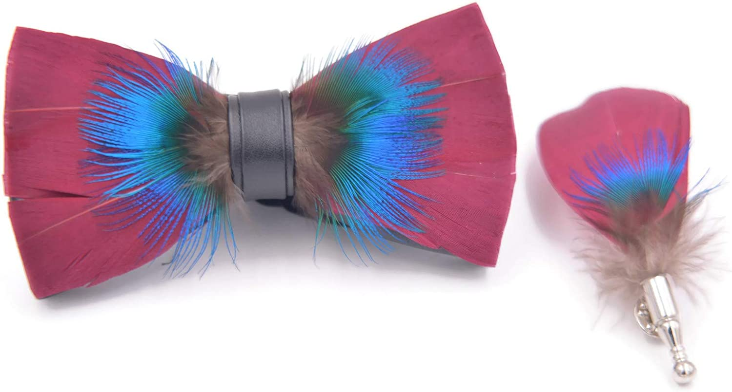 Magenta Pheasant Feathers Bow Ties lapel Pin Set - Handmade bow ties from authentic, 100% natural bird feathers