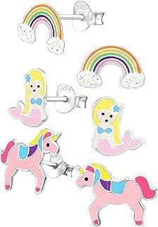 925 Sterling Silver Hypoallergenic Set of 3 Pairs Rainbow, Mermaid, & Pink Unicorn Stud Earrings for Girls (Nickel Free)