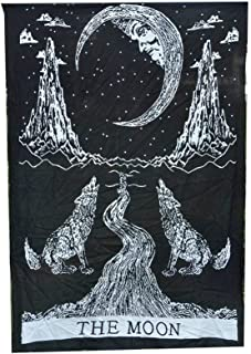 Black White Crying of Wolf The Moon Posters Art Bohemian Traditional Tapestry Wall Hanging Indian Yoga Mat Throw Decor Dorm Decorative Boho Hippie Hippy Tapestries Small Table Cloth Stars