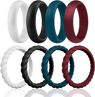 حلقه های عروسی سیلیکون ROQ برای زنان ، بندهای عروسی لاستیکی سیلیکون قابل جمع و جور با قیمت مناسب ، 8 ، 4 و 2 بسته و یک نفره