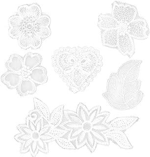 EXCEART 6Pcs Bordados de Rendas Com Remendos de Flores Em Branco Mix Estilo Apliques Artesanato de Costura Diy para Decora...