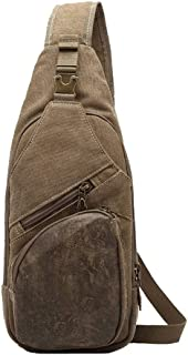 PANFU-AU Male Soil Shoulder Bag Chest Casual Canvas Small Backpack Waist Pack Men's Small Chest Bag Crossbody Bag Workout Belt Running Belt Runner Belt Fanny Pack (Color : Brown)