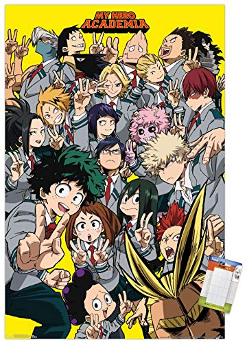 Trends International Hero Academia-Selfie Wall Poster, 22.375'' x 34'', Premium Poster & Mount Bundle, EBPOD16406PM