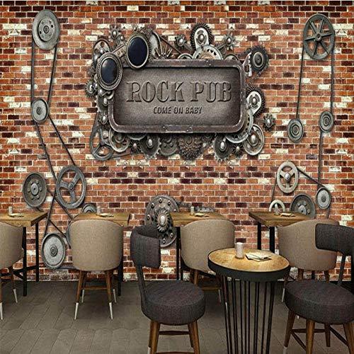 Papel tapiz fotográfico Pared de ladrillo americana europea Maquinaria industrial Barra de engranajes Cafetería Pared trasera Papel tapiz mural personalizado * 350cmx256cm (137.8x100.8inch)