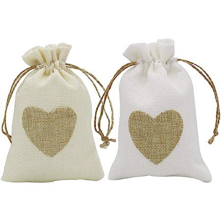 10 Burlap Jute Sacks Weddings Favor Drawstring Gift Bags Pouches 13.5cm x 9.5cm