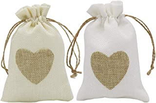 HRX Package Small Burlap Heart Gift Bags with Drawstring, 20pcs Jute Cloth Favor Pouches for Wedding Shower Party Christmas Valentine's Day DIY Craft (3.9 x 5.7 inches)