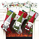 Hontex 18' Christmas Stockings Decoration with 3D Plush Santa Xmas Stockings Ornament Gifts for Christmas Decorations and Family Holiday Party Decor
