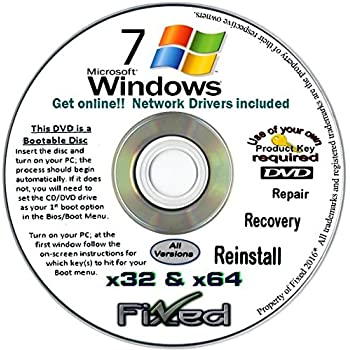 Recovery disc Compatible w/All Versions of Windows 7 Recovery Disc for 32 & 64 Bit Systems. Factory Fresh Re-Install w/Network Drivers. Free Fast Tech Support!!