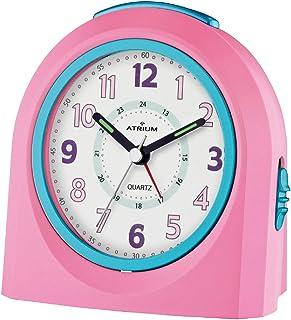 ATRIUM väckarklocka analog rosa tyst, med lätt och snooze-funktion A921-17
