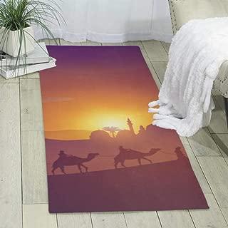 Desert Arabic Landscape Mosque Arabian Camel Modern Carpet Area Rug Boho Living Room Rug Size: 70