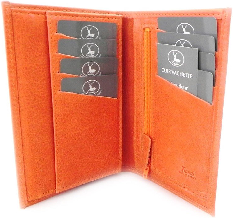 [On SALE   SOLDES  ]   Leather wallet  Frandi  orange nubuck.
