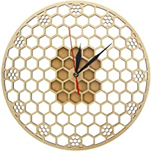 HUSHIJIAN Hexagon Wooden Wall Clock Honeycomb Sacred Geometry Comb Modern Clock Watch Bee Lover Keeper Room Deco Gift Silent